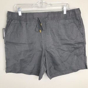 NEW Ellen Tracey Gray Linen Shorts Large